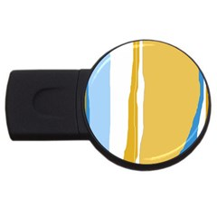 Blue And Yellow Lines Usb Flash Drive Round (2 Gb)  by Valentinaart