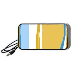 Blue And Yellow Lines Portable Speaker (black)  by Valentinaart