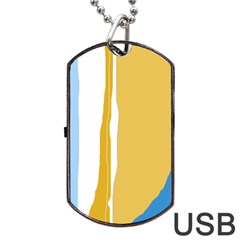 Blue and yellow lines Dog Tag USB Flash (Two Sides)  by Valentinaart