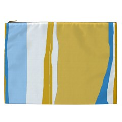 Blue And Yellow Lines Cosmetic Bag (xxl)  by Valentinaart