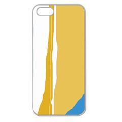 Blue And Yellow Lines Apple Seamless Iphone 5 Case (clear) by Valentinaart