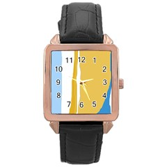 Blue And Yellow Lines Rose Gold Leather Watch  by Valentinaart