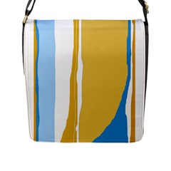 Blue And Yellow Lines Flap Messenger Bag (l)  by Valentinaart