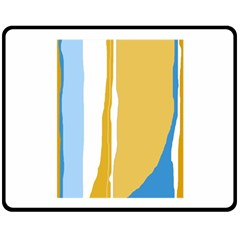 Blue And Yellow Lines Double Sided Fleece Blanket (medium)  by Valentinaart