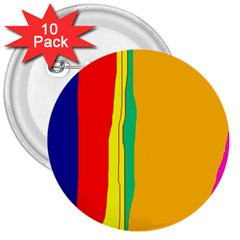 Colorful lines 3  Buttons (10 pack)  by Valentinaart