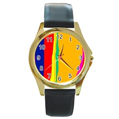 Colorful Lines Round Gold Metal Watch by Valentinaart