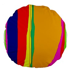 Colorful Lines Large 18  Premium Flano Round Cushions by Valentinaart