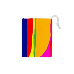 Colorful lines Drawstring Pouches (XS)  by Valentinaart