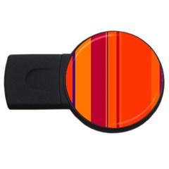 Orange Lines Usb Flash Drive Round (4 Gb)  by Valentinaart