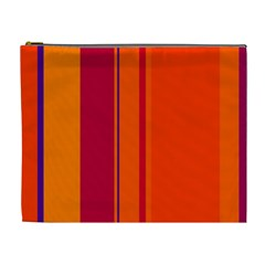 Orange Lines Cosmetic Bag (xl) by Valentinaart
