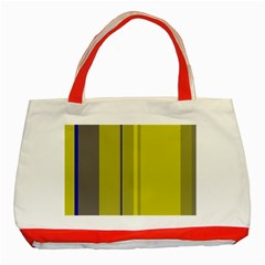 Green Elegant Lines Classic Tote Bag (red) by Valentinaart