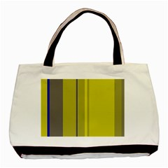 Green Elegant Lines Basic Tote Bag (two Sides) by Valentinaart
