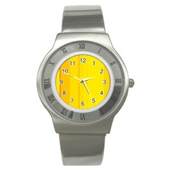 Yellow Lines Stainless Steel Watch by Valentinaart