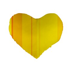 Yellow Lines Standard 16  Premium Heart Shape Cushions by Valentinaart