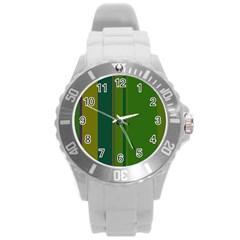 Green Elegant Lines Round Plastic Sport Watch (l) by Valentinaart