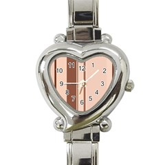 Elegant Brown Lines Heart Italian Charm Watch