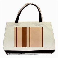 Elegant Brown Lines Basic Tote Bag by Valentinaart