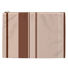 Elegant Brown Lines Cosmetic Bag (xxl)  by Valentinaart
