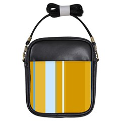 Yellow Elegant Lines Girls Sling Bags by Valentinaart