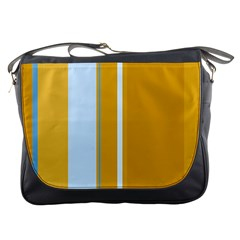 Yellow Elegant Lines Messenger Bags by Valentinaart