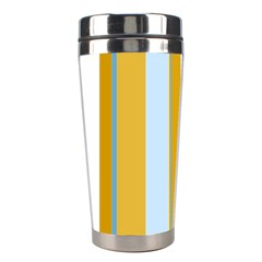 Yellow Elegant Lines Stainless Steel Travel Tumblers by Valentinaart