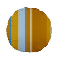 Yellow Elegant Lines Standard 15  Premium Flano Round Cushions by Valentinaart
