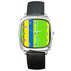 Colorful Lines Square Metal Watch by Valentinaart