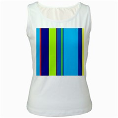 Blue And Green Lines Women s White Tank Top by Valentinaart