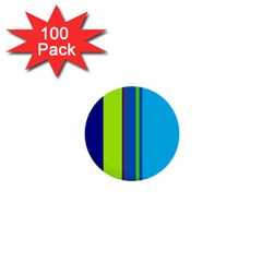 Blue And Green Lines 1  Mini Buttons (100 Pack)  by Valentinaart