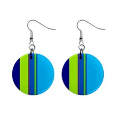 Blue And Green Lines Mini Button Earrings by Valentinaart