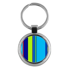 Blue And Green Lines Key Chains (round)  by Valentinaart