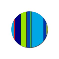 Blue And Green Lines Rubber Coaster (round)  by Valentinaart