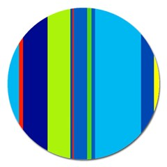 Blue And Green Lines Magnet 5  (round) by Valentinaart