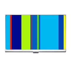 Blue And Green Lines Business Card Holders by Valentinaart