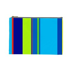 Blue And Green Lines Cosmetic Bag (large)  by Valentinaart