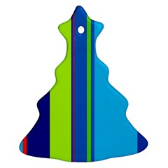 Blue And Green Lines Ornament (christmas Tree) by Valentinaart