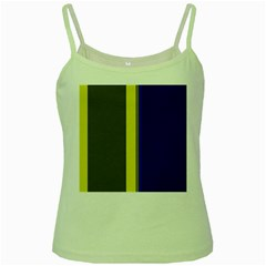 Blue And Yellow Lines Green Spaghetti Tank by Valentinaart