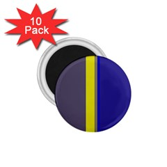 Blue And Yellow Lines 1 75  Magnets (10 Pack)  by Valentinaart