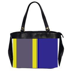 Blue And Yellow Lines Office Handbags (2 Sides)