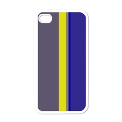 Blue And Yellow Lines Apple Iphone 4 Case (white) by Valentinaart