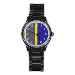 Blue And Yellow Lines Stainless Steel Round Watch by Valentinaart