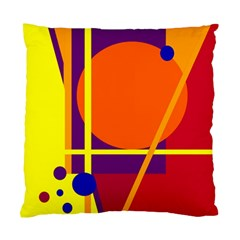Orange Abstract Design Standard Cushion Case (two Sides) by Valentinaart