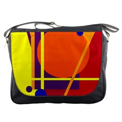 Orange Abstract Design Messenger Bags by Valentinaart
