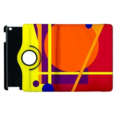 Orange Abstract Design Apple Ipad 3/4 Flip 360 Case by Valentinaart