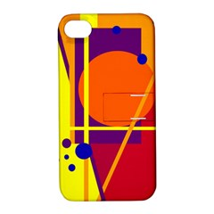 Orange Abstract Design Apple Iphone 4/4s Hardshell Case With Stand by Valentinaart