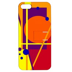Orange Abstract Design Apple Iphone 5 Hardshell Case With Stand by Valentinaart