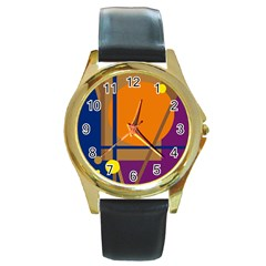 Decorative Abstract Design Round Gold Metal Watch by Valentinaart