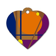 Decorative Abstract Design Dog Tag Heart (one Side) by Valentinaart