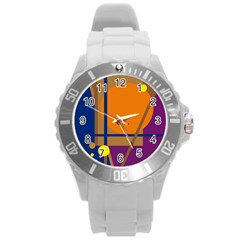 Decorative Abstract Design Round Plastic Sport Watch (l) by Valentinaart