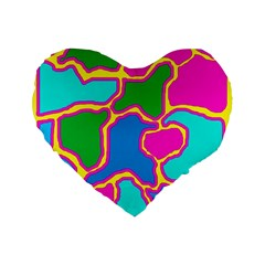 Colorful Abstract Design Standard 16  Premium Flano Heart Shape Cushions by Valentinaart